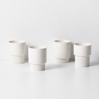 white - 4 x Groove cups