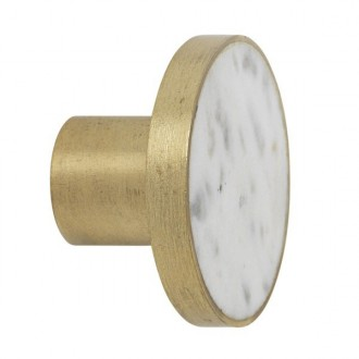 L - white marble / brass -...