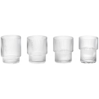 4 clear glasses Ripple