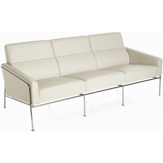3-seater - White leather -...