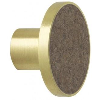 L - brown marble / brass -...