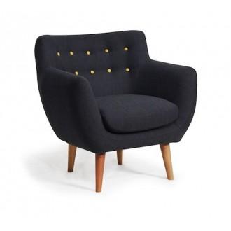 armchair - black - cotton -...