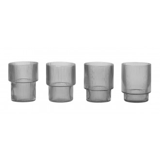 4 verres Ripple - gris fumé
