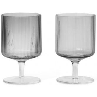 2x smoked grey wine glass...