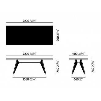 220x90cm - table EM bois