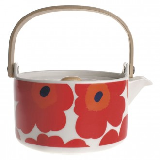 teapot 7dl - red and white...
